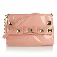 Serena Williams Patent Pyramid Stud Bag with Bow - blush is an amazing color that all the big designers like madden and others are doing/done and beige, classic