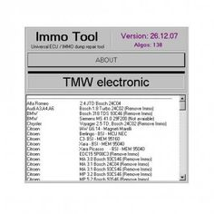 Immo Tool is a software kit which enables the repair and coding of engine ECUs and immobilisers.