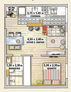 The couple made a miracle by turning the property of such lean measures into a home with . Studio Floor Plans, House Floor Plans, Small Tiny House, Small House Plans, Apartment Layout, Apartment Design, Tiny Apartments, Little Houses, Home Projects
