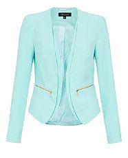 Turquoise (Blue) Turquoise Crepe Zip Pocket Blazer Jacket   296254748   New Look