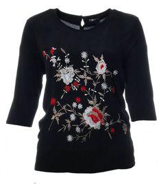 www.zimano.de schwarzes-shirt-damen-3-4-arm-bestickt-mit-blumen-grosse-groessen a-433578