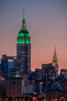 Empire State Building lit up in green for St Patrick's Day, New York City