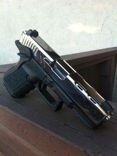 Custom Glock - yeah he likes guns. Custom Glock, Custom Guns, Airsoft, Fire Powers, Cool Guns, Big Guns, Guns And Ammo, Weapons Guns, Tactical Gear