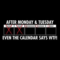 AFTER MONDAY AND TUESDAY, EVEN THE CALENDAR SAYS WTF FUNNY T-SHIRT(WHITE INK)