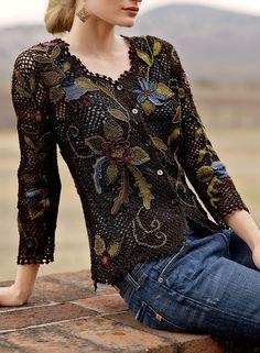 Fabulous Crochet a Little Black Crochet Dress Ideas. Georgeous Crochet a Little Black Crochet Dress Ideas. Gilet Crochet, Crochet Jacket, Freeform Crochet, Crochet Cardigan, Irish Crochet, Knit Crochet, Crochet Geek, Crochet Potholders, Lace Cardigan