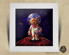 Cadre carré 25x25 avec Illustration Lynx cosmonaute pour