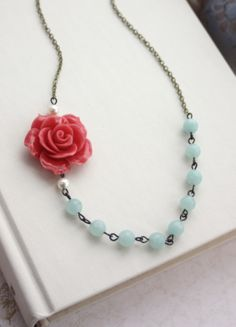 Large Coral Rose Flower and Mint Green Amazonite Gemstones. Bridesmaid Necklace Gifts, mint and coral wedding.
