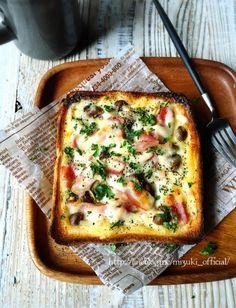 ♡トースターde超簡単♡カルボナーラな食パンキッシュ♡【#時短#節約#たまご#トースト#食パン】 : Mizuki