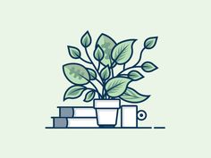 PLANTS designed by Gabriele Locci. Connect with them on Dribbble; Illustration Design Plat, Illustration Ligne, Art Et Illustration, Vector Illustrations, Art Design, Vector Design, Icon Design, Vector Art, Vector Graphics