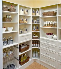 Invest in appropriate labels and containers. Use containers for items that need to stay fresh and come in messy bags, like baking supplies. Consider baskets to corral like items and items that don't store neatly (e.g. potato chip bags or onions). - Total Organizing Solutions