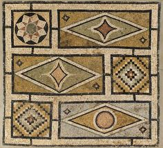 A BYZANTINE MARBLE MOSAIC PANEL   Circa 4th-5th Century A.D.   The rectangular panel framing six floating squares and rectangles, two squares with a checker pattern, one with a star pattern, the rectangles containing diamonds, two with diamonds with concave sides in the centers, one with a circle in the center  52 in. (132.1 cm) high, 47 in. (119.4 cm) wide