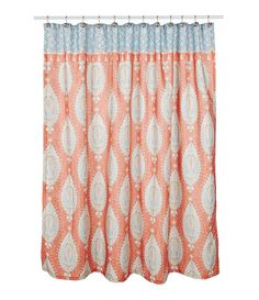 Coral And Turquoise Fabric Shower Curtain High Quality Chevron Bathroom Decor Home By PrintArtShoppe