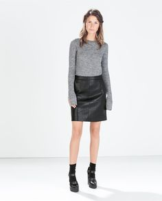 Image 1 of A-LINE FAUX LEATHER SKIRT from Zara