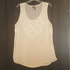 Decorative Tank Cream sequined tank top from Maurices; hardly ever worn! Maurices Tops Blouses