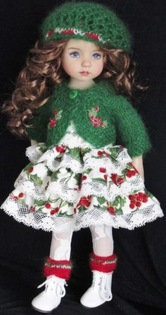 "SWEATER,DRESS,HAT& BOOTS SET MADE FOR EFFNER LITTLE DARLING 13""&SAMESIZE DOLLS"