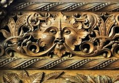 Green Man on a wooden sedilia in Holbeton church, Devon, England (photo Rex Harris)