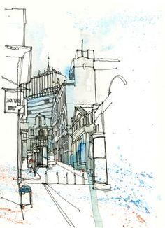 King Street, Manchester as drawn by Simone Ridyard of Urban Sketchers