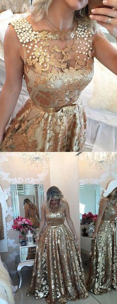 Prom Dresses Ball Gown, Fabulous Square Floor-Length Gold Prom Dress with Sequins Sash Pearls, from the ever-popular high-low prom dresses, to fun and flirty short prom dresses and elegant long prom gowns. Gold Prom Dresses, Plus Size Prom Dresses, Cheap Prom Dresses, Homecoming Dresses, Evening Dresses, Bridesmaid Dresses, Dresses Dresses, Prom Gowns, Dress Prom
