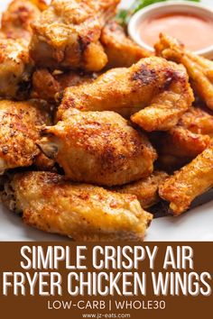 These low-carb Air Fryer Chicken Wings are actually easy to make and something you will want to make all the time, especially for football Sundays! #lowcarb #whole30 #airfryerchickenwings #airfryerchickenwingseasy #chickenwings Air Fryer Recipes Chicken Wings, Crispy Chicken Wings, Air Fryer Oven Recipes, Air Fry Recipes, Air Fryer Dinner Recipes, Chicken Wing Recipes, Keto Chicken, Cooking Recipes, Delicious Recipes