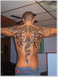 dragon-and--Phoenix-Tattoo-designs-For-Men-on-back ~ http://heledis.com/some-example-of-phoenix-tattoo-designs-for-men/