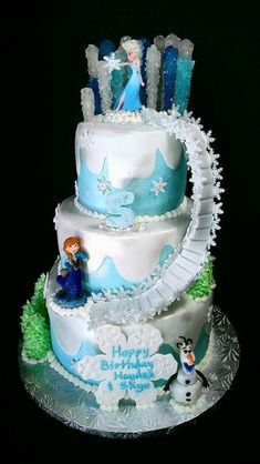 Top 10 Disney's Frozen Birthday Cakes A look into my personal favorite Frozen birthday cakes. Also get some ideas on how to create your own Disney themed Frozen birthday cake from scratch. Bolo Frozen, Disney Frozen Cake, Disney Frozen Birthday, Disney Cakes, Sven Frozen, Frozen Themed Birthday Cake, Frozen Theme Cake, Frozen Themed Birthday Party, Themed Cakes