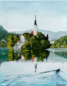 """""""Bled"""" - Painting, Oil on Canvas (30 cm x 24 cm) by (W)ortschnipsel"""