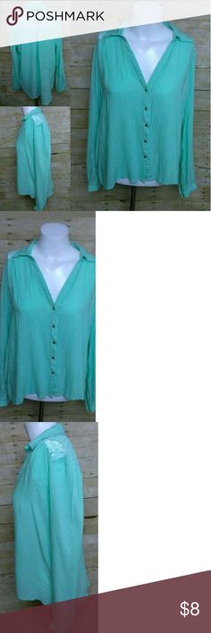 """Love 21 Mint Green Blouse Love 21 Womens Mint Green Long Sleeve Button Down Shirt Top Blouse Size L  Good Condition!   100% Rayon No Rips, Tears, or Stains   13.5"""" Under Arm to Bottom Hem      22"""" Pit to Pit (Wide)  26"""" Top neckline - Bottom hem love 21 Tops Blouses"""