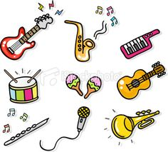 music cartoons pictures | icon music instruments cartoon illustration elements Royalty Free ...