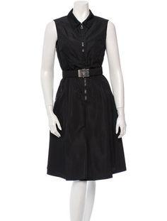 Prada zip front logo belted sleeveless dress, circa 1995