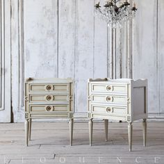 Antique Nightstands Devine Pair of Antique Nightstands. Original Creamy Sage finish with gold highlights and geometric carved details. Very fine leg and hardware.