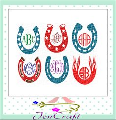 Horseshoe SVG Monogram Frames SVG, Dxf, EpsS,Png Instant Download cut files for Silhouette Studio and Cricut Design Space. by JenCraftDesigns on Etsy