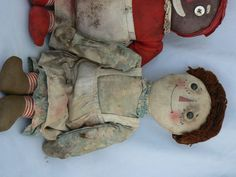 1920's P.F. Volland Raggedy Ann Pat. Sept. 7th 1915 and Raggedy Andy & Beloved Belindy Dolls