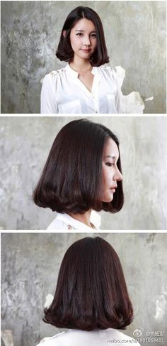 mid length hair. suitable for round or short face.