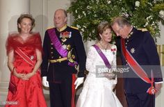 Masy 2003 - King Harald & Queen Sonja Of Norway And King Albert & Queen Paola Of Belgium Attend A State Banquet At The Laeken Palace, Near Brussels, During A Norwegian State Visit To Belgium.
