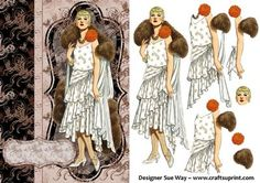 Fake Fur and Fancy Art Deco Lady Decoupage/3D card