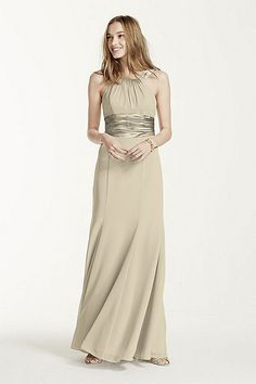 MORE COLORS SPECIAL VALUE - Chiffon and Charmeuse Dress with Rounded Neckline Style F12732 In Store & Online $149.00 $119.99