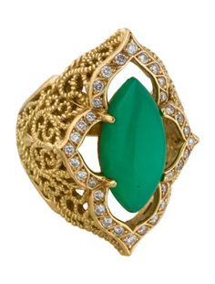 Cynthia Bach Chrysoprase and Diamond Quatrefoil Filigree Ring #MasterpieceClassic #Lookbook