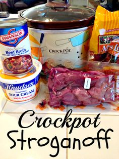 Crockpot beef Stroganoff, EASY and yummy! Crockpot beef Stroganoff, EASY and yummy! Read more. Crockpot Dishes, Crock Pot Cooking, Beef Dishes, Crockpot Meals, Crockpot Recepies, Crockpot Chicken Healthy, Healthy Soup, Crockpot Beef Stroganoff Recipe, Crock Pot Stroganoff