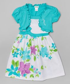 Look at this Littoe Potatoes Teal & White Floral Dress & Shrug - Toddler & Girls on #zulily today!