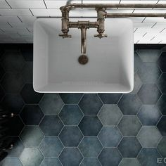 Stunning range of patterned, plain and natural stone Hexagon wall and floor tiles. In stock to take away today and special order collections. Hexagon Tile Bathroom, Hexagon Tiles, Bathroom Flooring, Flooring Store, Best Flooring, Wall And Floor Tiles, Wall Tiles, Fireplace Facade, Tiles Direct