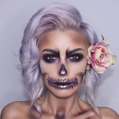 Really Cool Skeleton Makeup Ideas to Wear This Halloween ★ See more: glaminati - Make-up-Kunst - Accesorios para Maquillaje Halloween Skeleton Makeup, Beautiful Halloween Makeup, Cool Skeleton, Halloween Makeup Looks, Gorgeous Makeup, Halloween Halloween, Pretty Skeleton Makeup, Halloween Costumes, Halloween Decorations