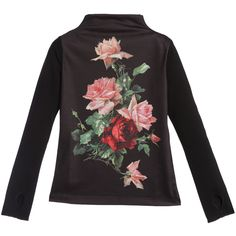 Girls Black Top with Roses Print, Love Made Love, Girl