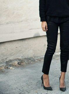 pin straight pants and pumps