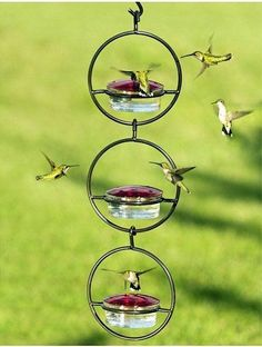 Fun Hummingbird Feeder with room for everyone! They won't miss the 12 feeder ports and ample perching space on the triple hanger. No-drip, no leak top-fill design is done in recycled glass and powder-