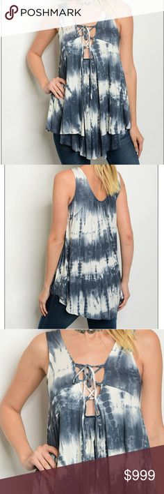 COMING SOON! LIKE TO BE NOTIFIED WHEN AVAILABLE Beautiful charcoal blue and white tie dyed blouse. Tie up strappy chest. Super soft, flowy, relaxed fit with a flouncy bottom. Brand new from wholesaler. 95% rayon, 5% spandex. NO TRADES  measurements coming soon  06750 Tops