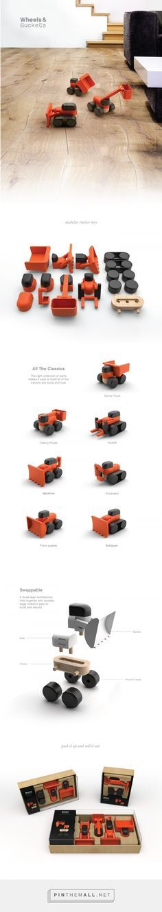 Industrial design, toy design and packaging for Wheels & Buckets on Behance by Scott Schenone Seattle, WA curated by Packaging Diva PD. Takes the iconic tractor parts and simplifies them down into a swappable children's toy.