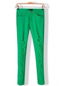 Green Plain Mid Waist Long Wrap Denim Pants http://www.coupon4free.com/stores/cichic-fashion/
