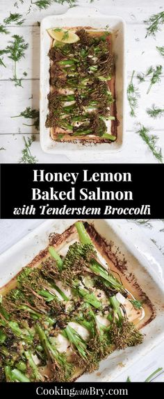 Honey Lemon Baked Salmon with Tenderstem Broccoli Recipe - a delicious and easy baked salmon recipe with honey, lemon, butter and chilli, topped with broccolini for a healthy dinner idea for the whole family. Broccoli Recipes, Salmon Recipes, Fish Recipes, Seafood Recipes, Sweets Recipes, Pork Recipes For Dinner, Grilling Recipes, Cooking Recipes, Healthy Recipes