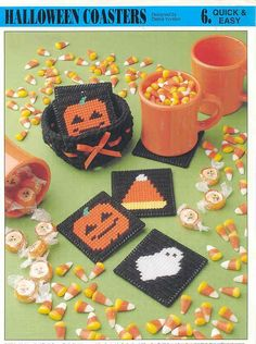 Free Plastic Canvas Magnet Patterns | HALLOWEEN COASTERS plastic canvas pattern by puddinpop on Etsy
