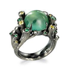 Fei Liu Dawn Ring: 18K Black Gold Set with 8ct Prehnite, Citrine, Peridot and Diamond